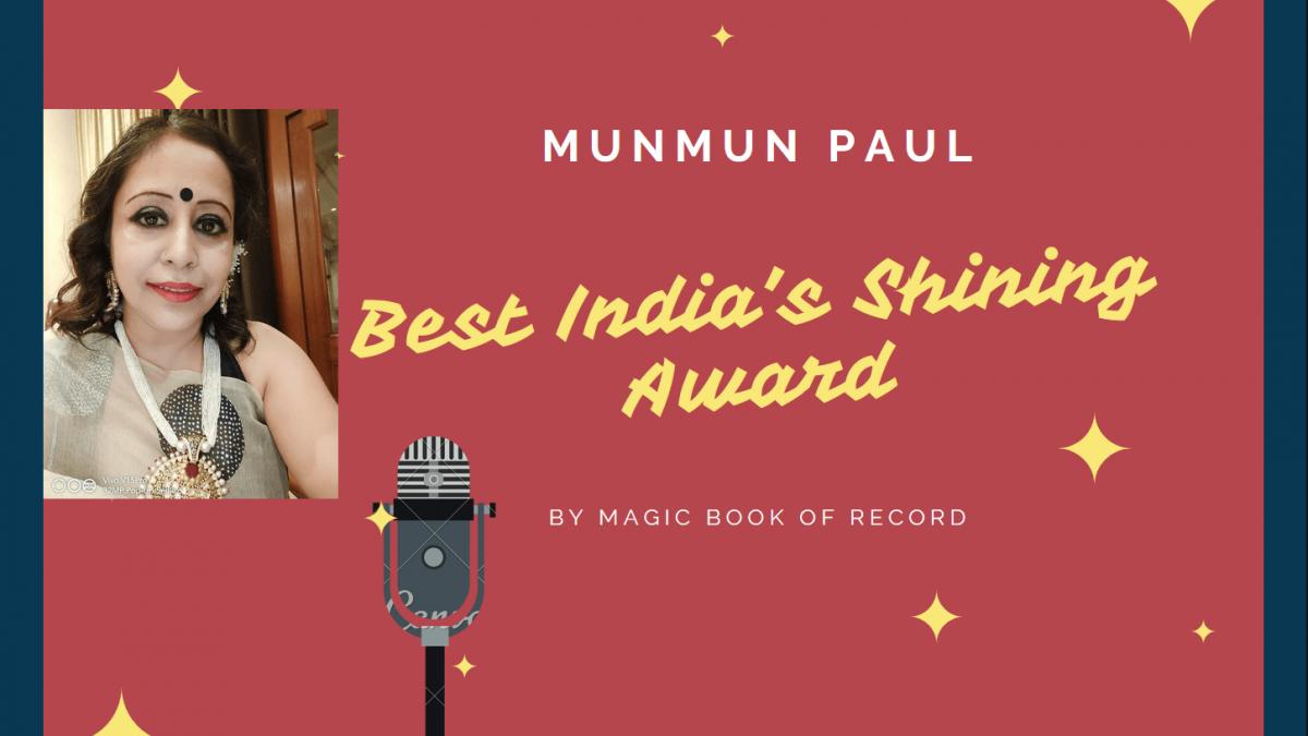 Munmun Paul Best India Shining Award -Magic Book of Record