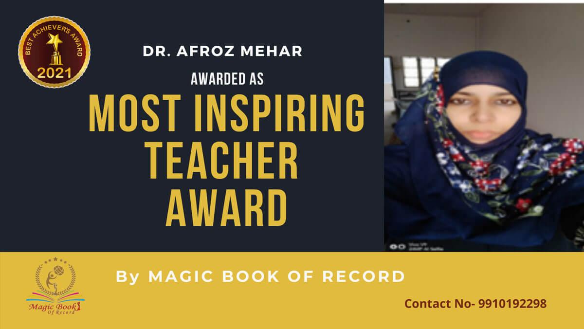Dr. Afroz Mehar- Telangana-Magic Book of Record