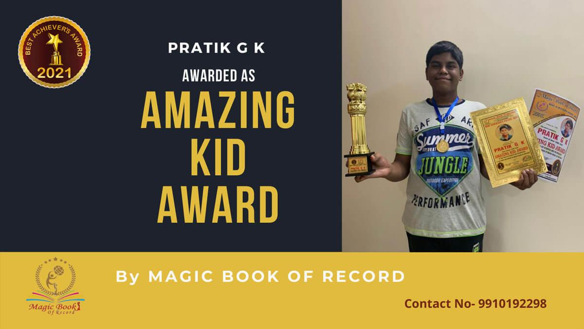 Pratik G K-Tamil Nadu-Magic Book of Record
