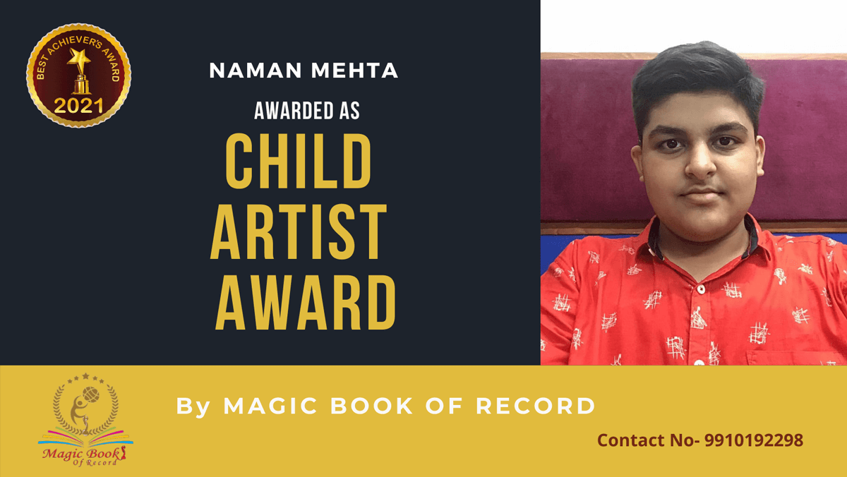 Naman Mehta-Gujarat-Magic Book of Record